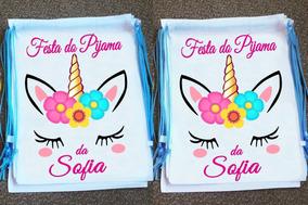 Kit 10 Mochilinhas Ecobag Saquinho Festa Do Pijama Unicórnio