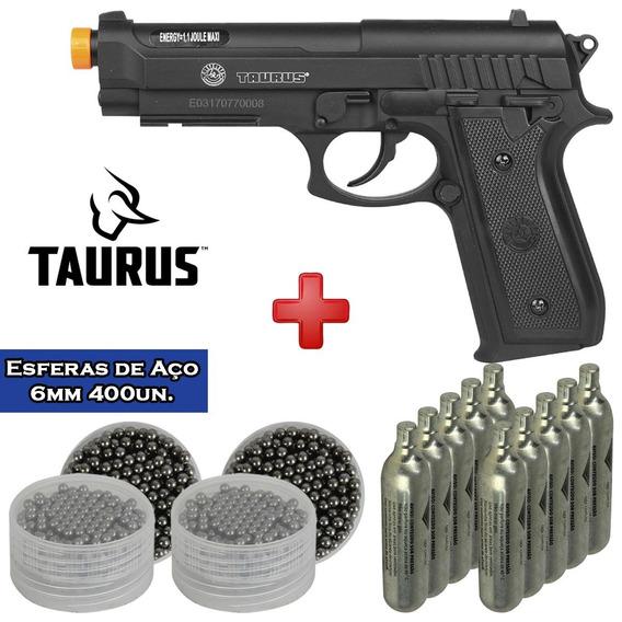 Pistola Co2 Taurus Pt92 + 10 Cápsulas Qgk+ 2 Esferas Aço 6mm