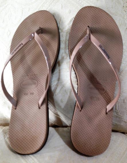 Sandálias Havaianas Com Tiras De Couro