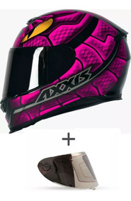 Capacete Mt Axxis Snake Rosa Preto Brilho + Viseira + Trança