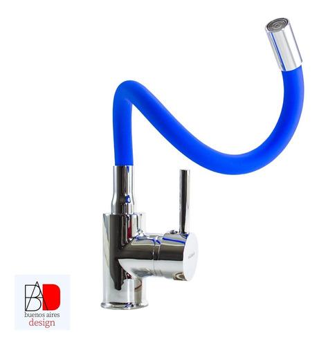 Grifería Bronce Monocomando Cocina Mesada Azul Pico Flexible