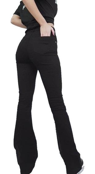 Jean Oxford Mujer Tiro Alto Elastizado Negro Talle 36 A 48
