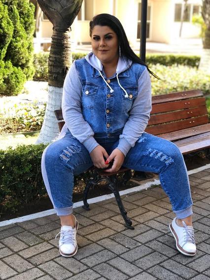 Jaqueta Jeans Feminina Moletom Plus Size Tamanhos Grandes