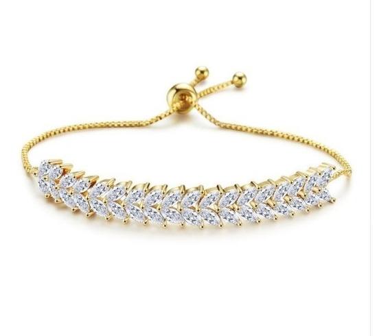 Pulseira Bracelete Dourada Com Zircônia Noiva Debutante Luxo