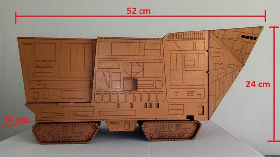 Star Wars Sandcrawler Veiculo Dos Jawas Feito Em Mdf Pintado