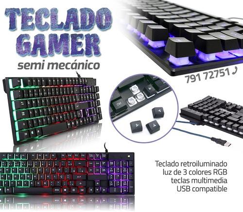 Teclado Luminoso Semi Mecanico Gamer