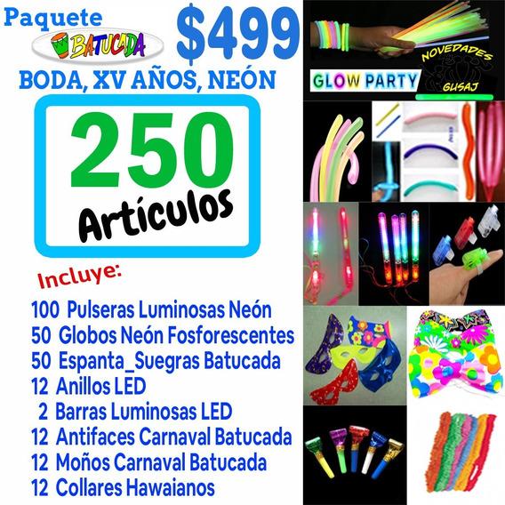 Paquete Batucada Fiesta Quince Años Neon Led 250 Artículos