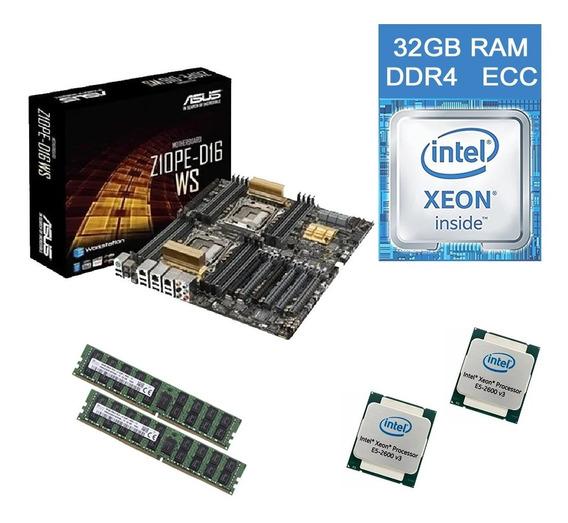 Asus Z10pe-d16 Ws Dual Xeon E5-2695 V3 32gb Ram Ddr4 Ecc
