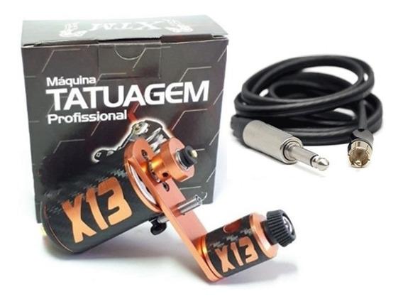 Máquina Tatuagem Rotativa Profissional X13 + Cabo Rca Tattoo