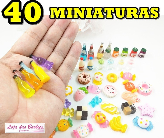 Kit 40 Miniaturas Comida Cozinha Boneca Barbie Blythe Susi