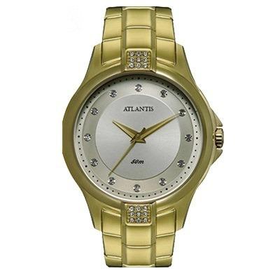 Relógio Atlantis Dourado Fundo Prata Detalhes Strass - G3412