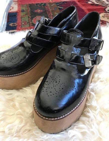Plataformas - Zapatos Pepe Cantero - De Cuero Charol Negro -
