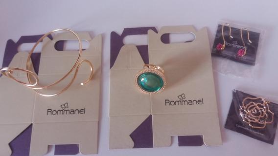 Lote Rommanel: Anel+ Brinco+ Bracelete + Brinde Quadro Cofre