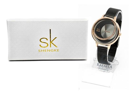 Relógio Feminino Sk Luxo Resistente A Água Original C/ Nf-e