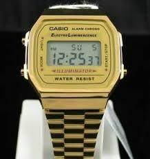 Relógio Feminino Dourado Casio Unissex C/ Caixa Acrilica