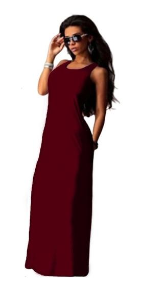 Vestido Largo De Mujer Con Bolsillos Maxi Faldas Art870