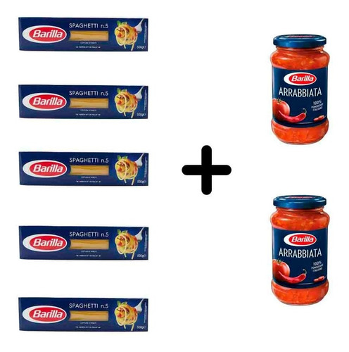Imagen 1 de 1 de Fideos Barilla Spaghetti 5 Paquetes + 2 Salsas Arrabiata