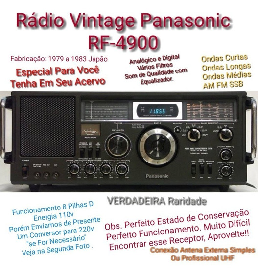 Rádio Profissional Vintage Panasonic Rf-4900 Década 80