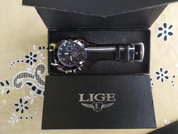 Relógio Masculino De Luxo Militar Lige 2019 Original C/ Cx