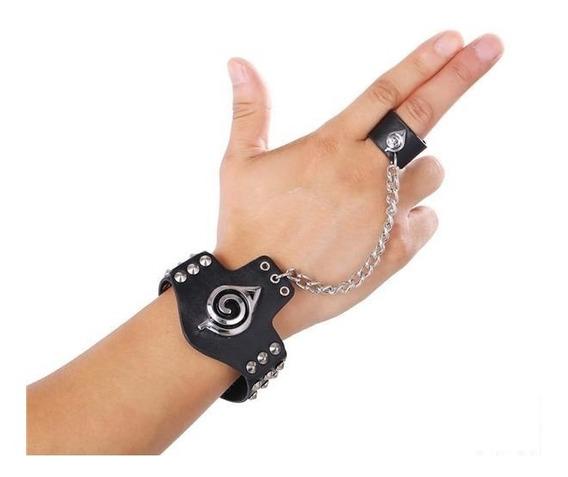 Nova Pulseira Bracelete Naruto Otaku Couro Ajustável Anime