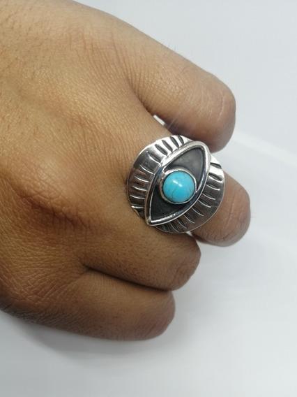 Anillo Ojo Turco Azul Turquesa En Plata Fina Ley 925 Protecc