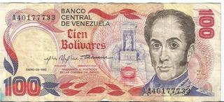 Billetes De 100 Bolivares/1980