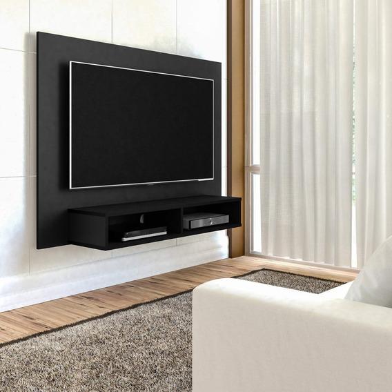 Painel Para Tv 42 Polegadas 2 Nichos Flash Arlety Preto B