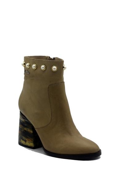 Zapatos Botas Botinetas Mujer Cuero Taupe Perlas Leblu 667
