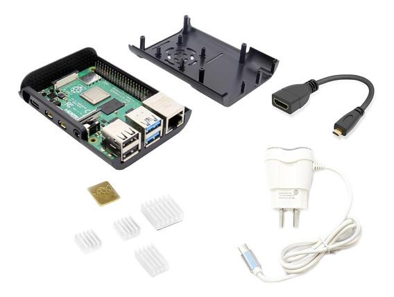 Raspberry Pi 4 4gb Kit Element14 Gabinete Fuente Disipadores