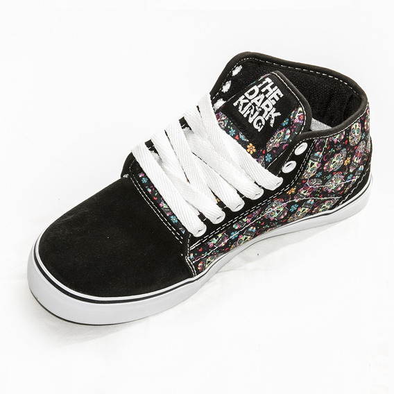 Zapatillas Media Botita Tela Y Gamuza Calavera The Dark King