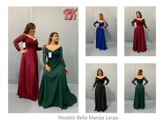 Vestido De Fiesta Modelo Bella Manga Larga
