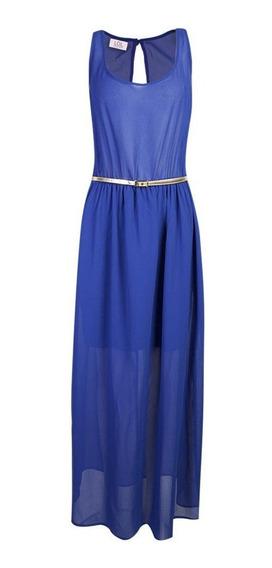 Vestido Largo Azul Francia