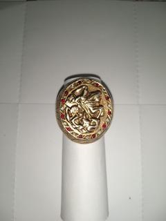 Anel São Jorge Prata Banhada Em Ouro 18k