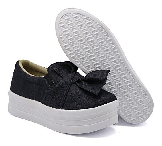 Casual Sola Alta Moda Feminino Flatform Slipon Dk Shoes Laço