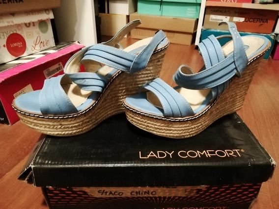 Sandalias Lady Comfort Talle 38 Celestes