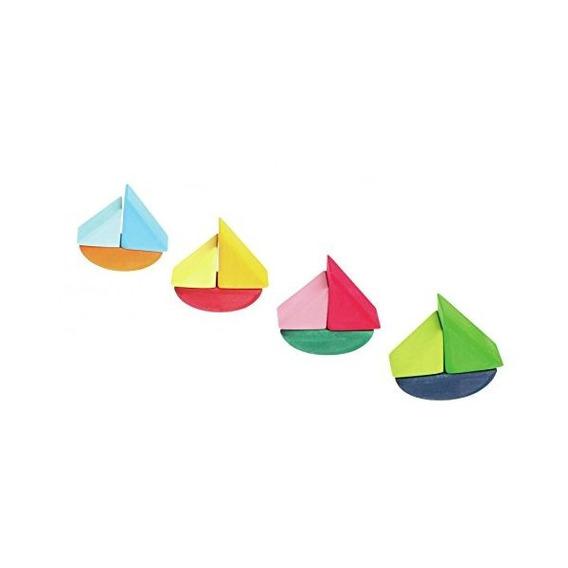 Juego De 4 Barcos Arco Iris-coloreado De Madera Laminado De