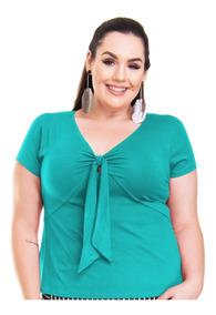 Roupa Feminina Blusa Bata Com Amarração Frontal Plus Size