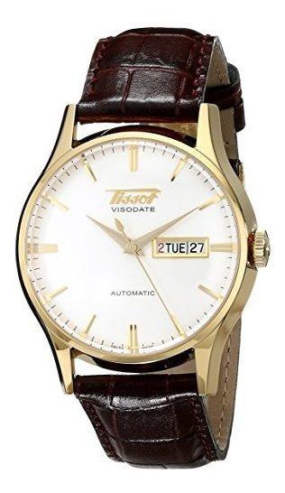 T0194303603101 Reloj De Cuero Marron Dorado Amarillo Veteado