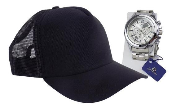Relógio Masculino Original Silicione + Boné + Nf-e