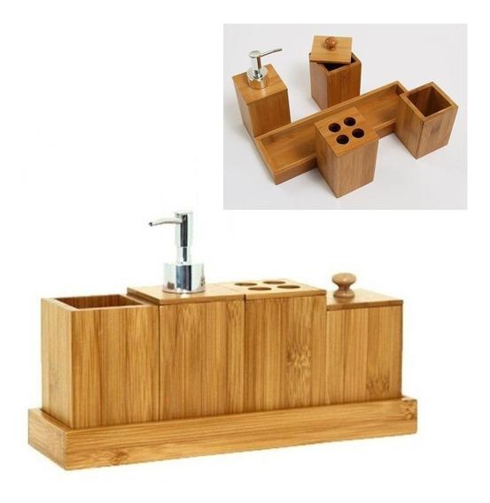 Kit De Banheiro Bambu Porta Escovas Sabonete Liquido Algodão