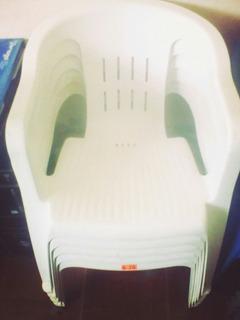 Paquete De 5 Sillas Confort De Plástico Blancas Con Gomas