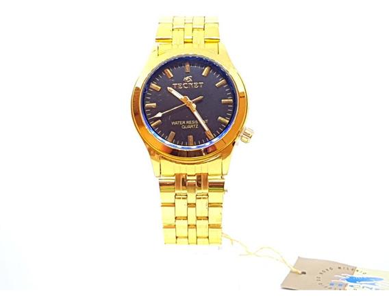 Relógio Dourado Masculino Fundo Preto Original Tecnet