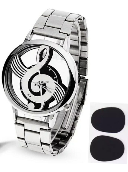 Relógio Masculino Clave De Sol + Protetor De Dentes Saxofone