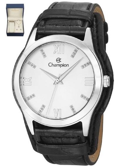 Kit Relógio Champion Feminino Pulseira Couro Cn20346c