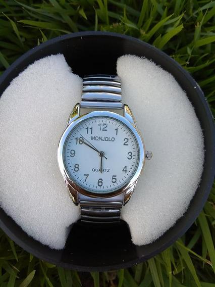Relógio Feminino Prata Auto Ajustável Elástico