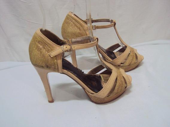 Sandalia Feminina Dourada Tamanho 35