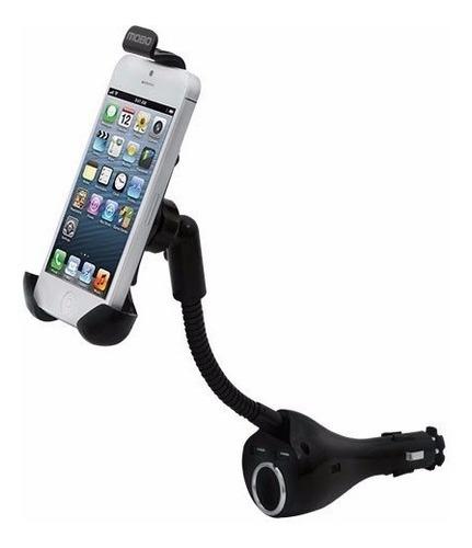 Soporte Porta Celular Gps Flexible Cargador Auto Doble Usb
