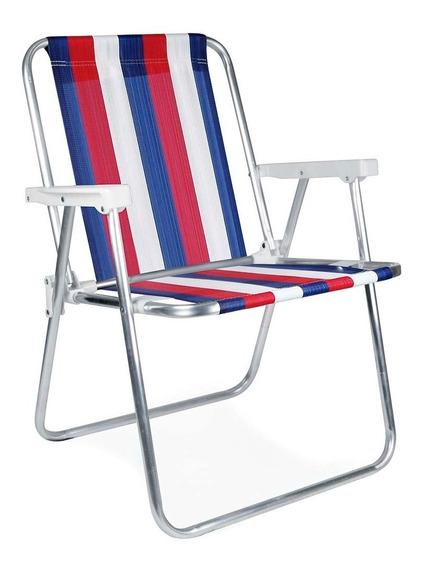 Kit Com 3 Un Cadeira De Praia Mor Alta Dobravel Em Aluminio
