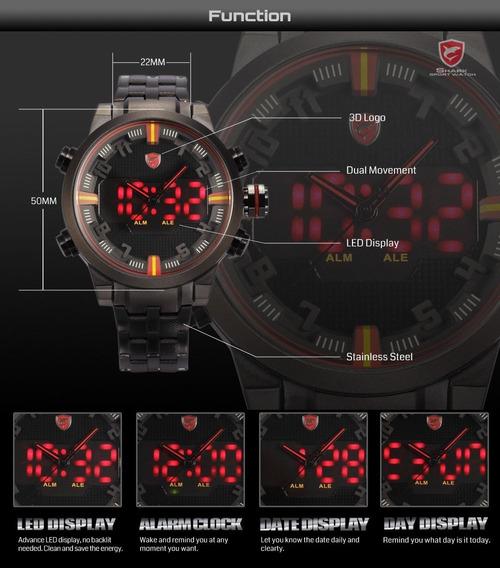 Relógio Shark Sh197 - Dual Time Digital Led Aço Inoxidável