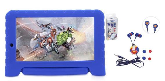 Tablet 16gb Infantil Tela 7 Capa Dos Vingadores Azul + Fone